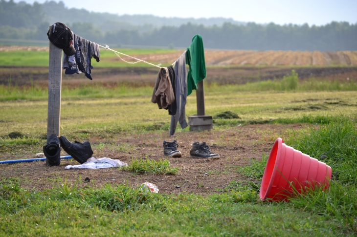 A farmworkers clothes hanging to dry