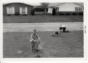 Picking up sticks. The house across the street to the right is where the Nelson's lived. To the left, the Cooks.