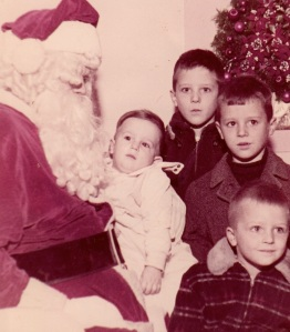 My first visit to Santa, in 1963. With Bob (6), Ed (5) and Bill (4).