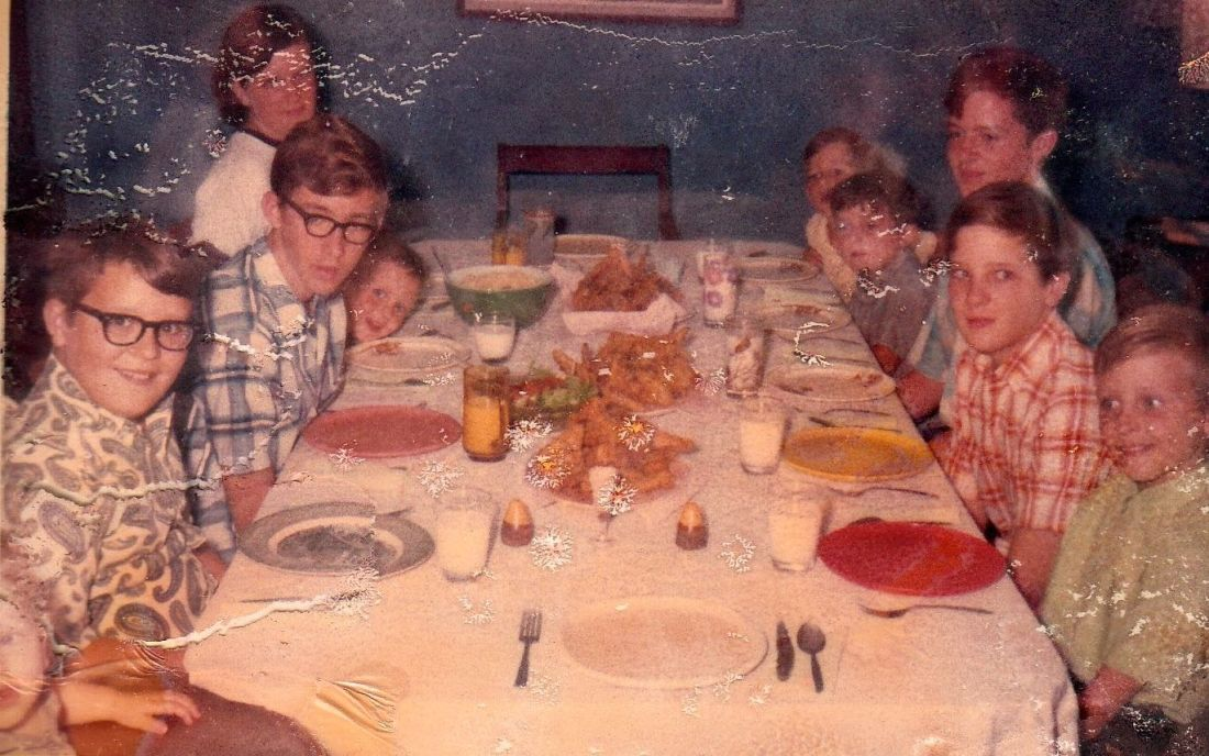 All ten Durbin kids at Sunday dinner in 1969. Clockwise around the table from lower left: David (1), Ed (11), Steve (15), Ken (3), Barb (13), Marty (4), Mike (6), Dan (15), Bob (12), Bill (9)