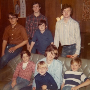 1972 in the basement of 114 Primrose. Clockwise from upper left: Ed, Bob, Mike, Dan, Ken, Steve, Dave, Marty