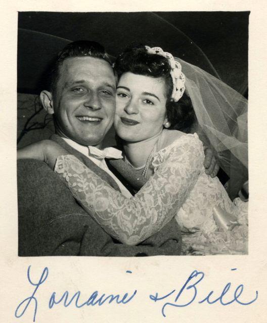 Bill and Lorraine Durbin. Wedding day, 1952