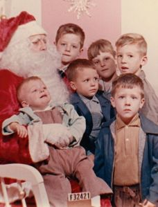 Santa with Durbin kids (clockwise from top) Dan, Barb, Steve, Bob, Ed and Bill. 1960