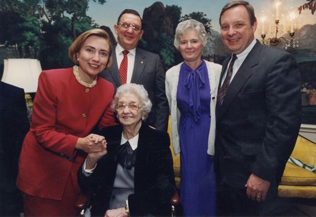 First Lady Hillary Clinton welcomes Grandma to the White House on Mothers Day 1994. Mom and Dad are in back with Uncle Dick.